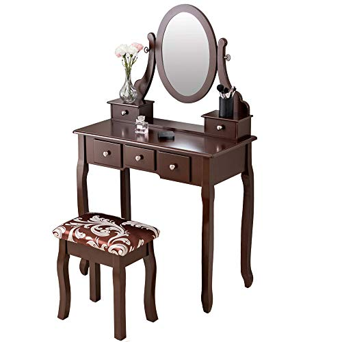 - BITBIZ Vanity Table Set with Mirror, Dressing Table Vanity Makeup Table with 5 Drawers/Stool,Brown