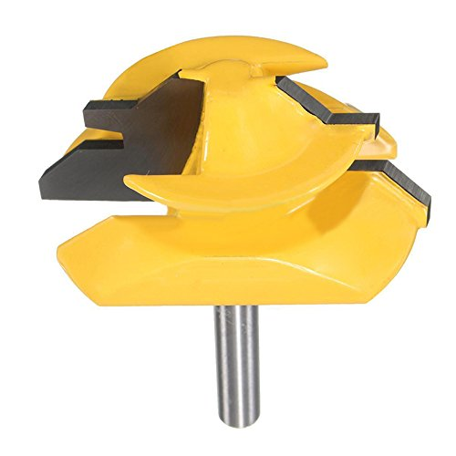 """QLOUNI Lock Miter 2"""" Diameter 1/4'' Carbon Steel Shank 45 Degree Joint Router Bits Woodworking Cutter Tool"""