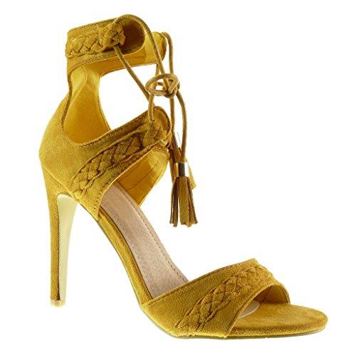 Angkorly - Zapatillas de Moda Sandalias Tacón escarpín stiletto abierto mujer trenzado pompom fleco Talón Tacón de aguja alto 11 CM - Amarillez