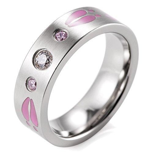 SHARDON Women's 6mm CZ Stones Inlay Titanium Outdoor Ring with Pink Engraved Deer Footprints Size 8 (Deer Ring For Women)