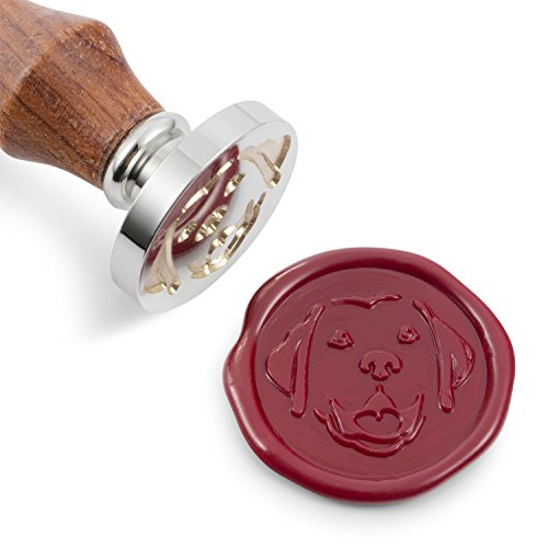 Mceal Wax Seal Stamp, Silver Brass Head with Wooden Handle, Pet Dog Series: Retriever