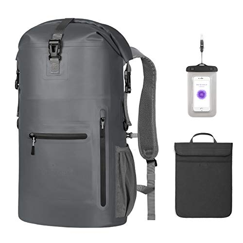 Unigear Waterproof Backpack Floating Dry Bag 35L with a Detachable Laptop Bag and 4 Zipper Pockets, Ventilated Padded Back and Straps for Comfort (Gray-35L)