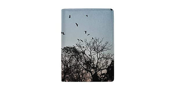 Silhouettes Of Crows Birds On Bare Tree Blocking Print Passport Holder Cover Case Travel Luggage Passport Wallet Card Holder Made With Leather For Men Women Kids Family