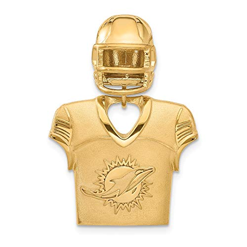 (FB Jewels Sterling Silver Gold Plated Miami Dolphins Jersey & Helmet)
