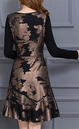 Jaycargogo Des Femmes De Longue Encolure Ras Du Cou Slim Fit Sleeve Accepter Or Robe Taille