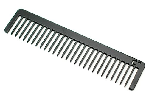 Chicago Comb Long Model No. 5 Jet Black, 5.5 inches (14 cm) long, Made in USA, wide-tooth comb, ultra smooth coated stainless steel, unbreakable, perfect for long, curly, or thick hair, men & women