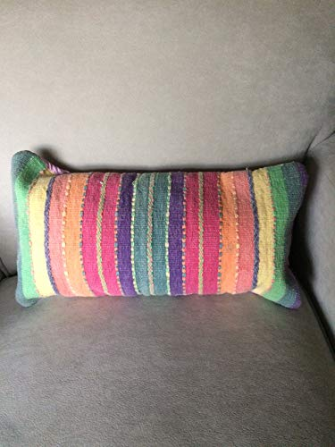 Striped Neck Roll Pillow, Handwoven Cotton In Pink, Purple, Green, Orange-Rainbow of Colors