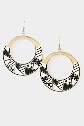 Trendy Fashion Jewelry Various Geometric Shapes Drawings Around Metallic Circular Earri By Fashion Destination | (White Circular Earring)