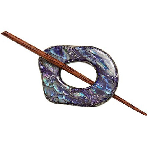 - Paradise Exotic Navy Shell & Foil Shawl Pin SP32501