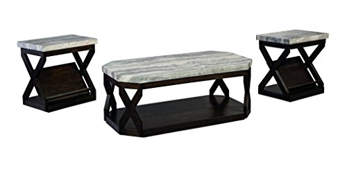 Ashley Furniture Signature Design - Radilyn Occasional Table Set - End Tables and Coffee Table - 3 Piece - Rectangular - Gray Faux Marble Top with Dark Brown Base