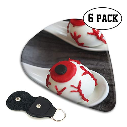 (Nice Music Halloween Eyeball Bloody Fake Cake Ultra Thin 0.46 Med 0.71 Thick 0.96mm 6 Pieces Each Base Prime Celluloid Ivory Jazz Mandolin Bass Ukelele Plectrum Guitar Pick Pouch)