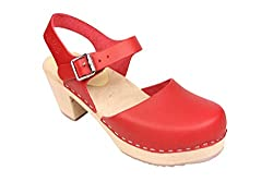 Lotta From Stockholm Torpatoffeln Swedish Clogs : Highwood Mary Jane Style in Red Leather