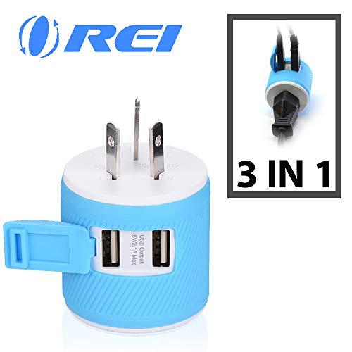 Orei–Adaptador de Enchufe de Viaje USB Dual–Protección contra sobretensiones, Type I - Australia, China, Azul