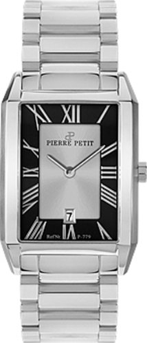 Pierre Petit Women's P-779C Serie Paris Black Dial Stainless-Steel Bracelet Date Watch