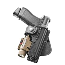 Fobus Tactical RBT17 Standard Right Hand Conceal Carry Polymer Paddle Light Laser Holster For Glock 17/22/31, S&W M&P 9mm, Walther P99Q - Black