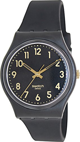 Swatch GB274 Golden Tac Black Gold Analog Dial Silicone Strap Unisex Watch NEW - Swatch Watches