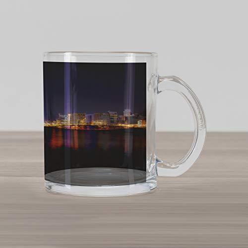 Lunarable Urban Glass Mug, Manama City Skyline at Night Kingdom of Bahrain Middle Eastern Modern, Printed Clear Glass Coffee Mug Cup for Beverages Water Tea Drinks, Orange Purple Dark - Mug Bahrain