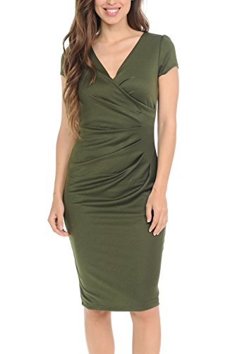 (Auliné Collection Womens V-Neck Zip Up Work Office Career Side Wrap Sheath Dress Olive Green Large)