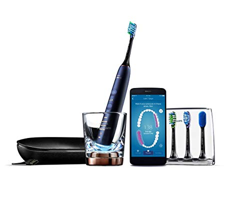(Philips Sonicare DiamondClean Smart Electric, Rechargeable toothbrush for Complete Oral Care, w/Charging Travel Case, 5 modes, 4 Brush Heads & Brush Head holder - 9750 Series, Lunar Blue, HX9954/56)
