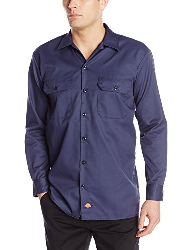 Dickies Men's Long Sleeve Work Shirt, Navy, Extra Large by Dickies