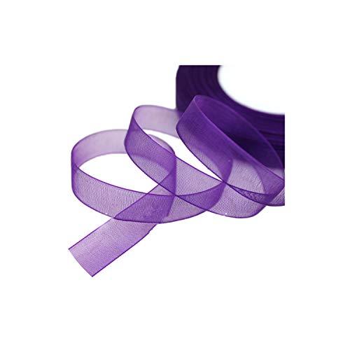 YP-fashion (50 Yards/roll) 12mm Organza Ribbons Gift Wrapping Decoration Christmas Ribbons,Dark Purple