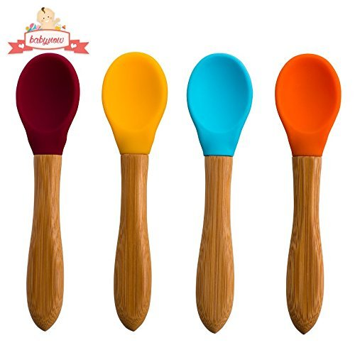 Colored Wood Spoons - Safe Baby Feeding Spoons [Organic] 4 Color Pack Makes Mealtime Fun - Silicone Bowl and Easy Grip Bamboo Handle (BPA Free)