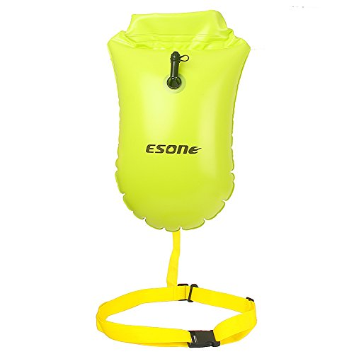 ESONE Swim Buoy – Swim Safety Float and Dry Bag for Open Water Swimmers Triathletes Snorkelers Surfers Safe Swimming Training 15L (Yellow)
