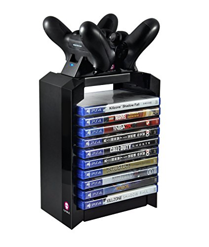 Numskull - PS4 Games Tower & Dual Charger for Dualshock 4 Controller / Gamepad / Joystick - Stores 10 Games - For Sony Playstation 4 from Numskull