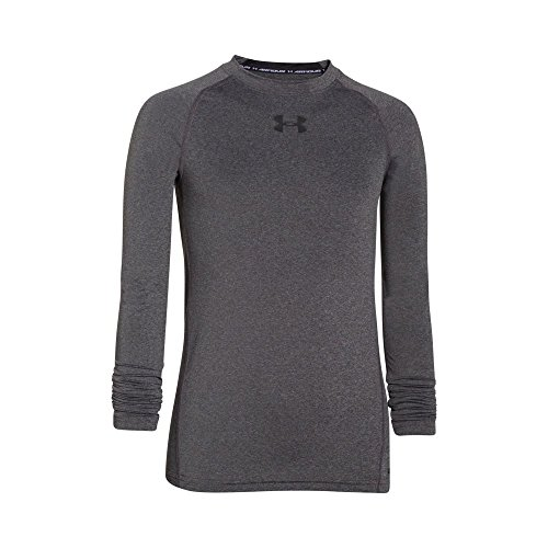 Under Armour Boys' HeatGear Armour Long Sleeve Fitted Shirt, Carbon Heather/Black, Youth Large
