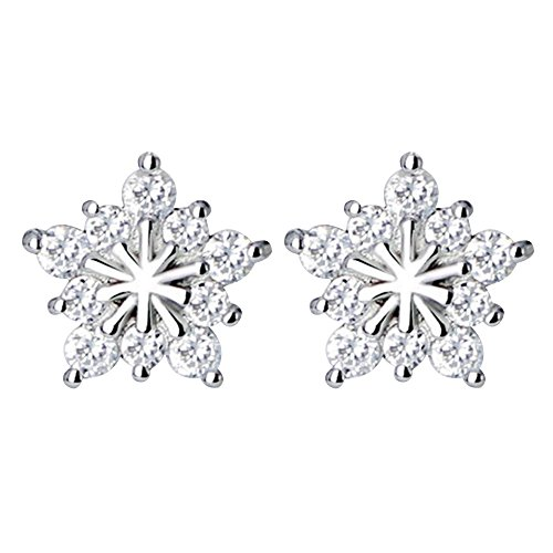 Happy Hours - 1 Pair Womens Crystal Snow Plating Ear Studs / Zircon Five-pointed Star Allergy Free Silver + Copper Earrings for Christmas Festival New Year's Day