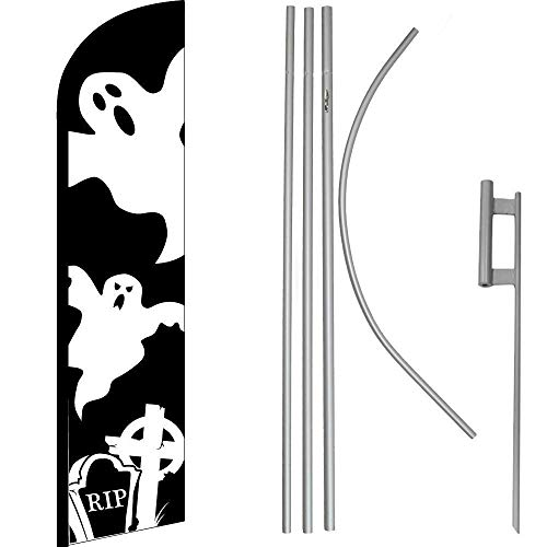 ALBATROS Halloween Ghost Black White Windless Banner Flag with 16in Flagpole Kit/Ground for Home and Parades, Official Party, All Weather Indoors Outdoors
