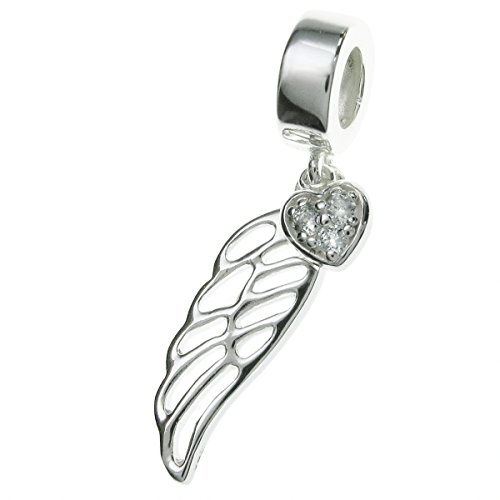 - 925 Sterling Silver Angel Wing Heart Clear Cz Crystal Dangle Bead for European Charm Bracelets