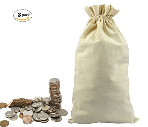 Lanyani 3 Canvas Coin Money Sacks Bag 10 by 17 inches Bank Deposit Change Transit Draw Strings, Heavy Duty -