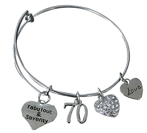 Infinity Collection 70th Birthday Gifts for Women, 70th Birthday Charm Bracelet, Perfect 70th Birthday Gift Ideas -