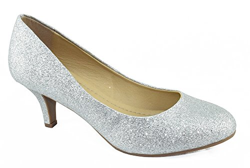 City Classified Comfort Women Classic Heel Pumps Closed Round Toe CARLOS Silver Glitter (Round Toe Comfort Pump Shoe)