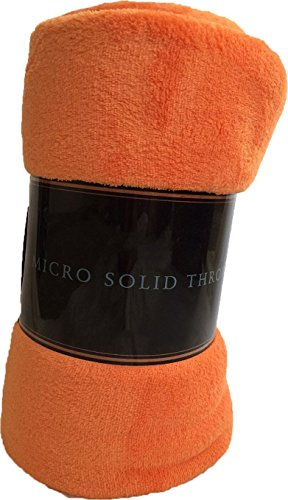 "Luxury Discounts Warm & Cozy Soft Plush Solid Fleece Throw Blanket (50""x60"", Orange)"