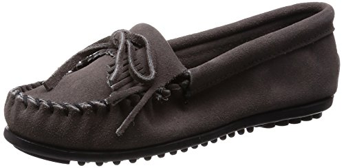 Minnetonka Women's Kilty Moccasin,Grey,8 M US