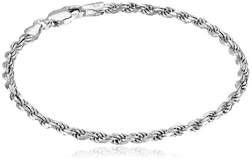 Amazon Essentials Sterling Silver Diamond-Cut Rope Chain Link Bracelet, 7