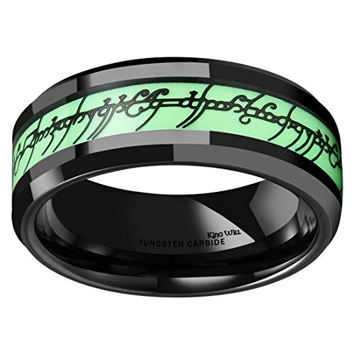 King Will Aurora Mens 8mm Black Tungsten Carbide Ring Luminosity Glow and Lord of Ring Inlay Beveled Edge 11 (Ring Lotr)