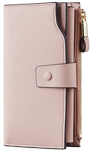 Travelambo Womens RFID Blocking Large Capacity Luxury Waxed Genuine Leather Clutch Wallet Multi Card Organizer