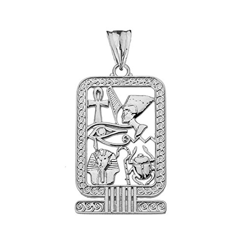 Silver Sterling Cartouche Pendant - Exquisite Sterling Silver Ancient Egyptian Cartouche Pendant