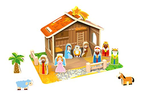 TOYSTER'S Wooden Nativity Play Set for Children | Little People Playset Toys | Indoor Christmas Scene Decoration | Kid-Friendly Bible Toy Includes Mary, Joseph, Baby Jesus That Stand Up on Their Own