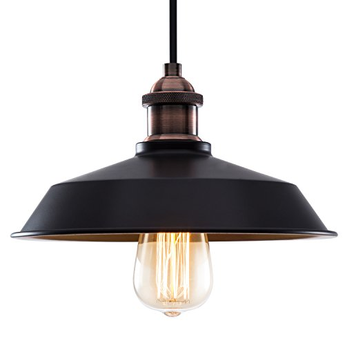 Vintage Style Black Edison Pendant Light,Industrial Lamp Retro Metal Shade Loft Fixture Hanging Barn Ceiling Light for Indoor Kitchen,Dining Room,Cafe,Club,Restaurant Paint (Black Pendant Lights For Kitchen)