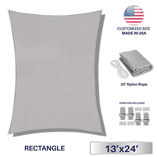 Windscreen4less Sun Shade Sail Light Grey 13 x 24 Rectangle Patio Permeable Fabric UV Block Perfect for Outdoor Patio Backyard – Customize 4 Pad Eyes Included