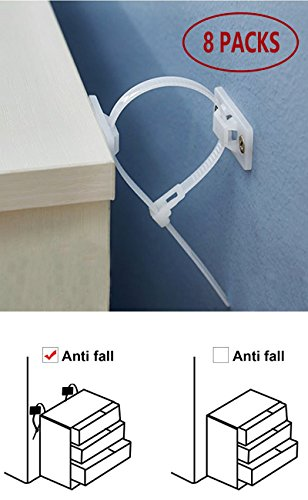 Wall Tip (Furniture Straps, White Anti-Tip Safety Wall Strap for Baby Proofing Childproof)