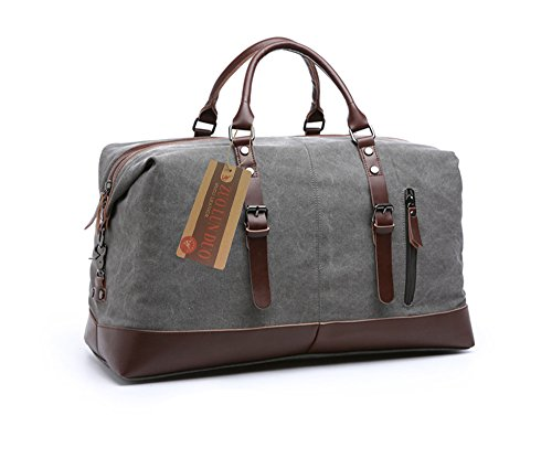 - Travel Duffel Canvas sport Genuine Leather Trim Tote Shoulder Handbag Weekend Bag (Grey)