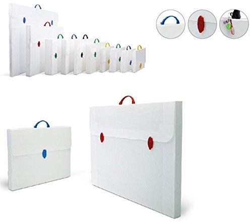 3 Stück Infantasia PP Design Taschen Roma bianco 250x350x25mm für DIN A4 Präsentationsmappe Zeichenkoffer weiss