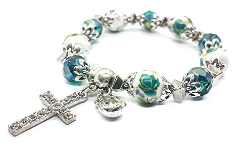 (Nazareth Store Religious Cross Bracelet Christian Classic Beaded Bangle with Green Crystal Beads Sacred Gift for Teen Girls Jewelry for Women & Men)