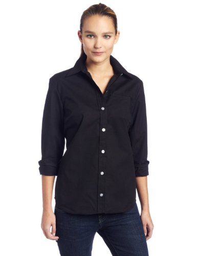 Dickies Women's Long Sleeve Stretch Poplin Wrinkle Resistant Shirt, Black, - Resist Poplin Wrinkle Shirt
