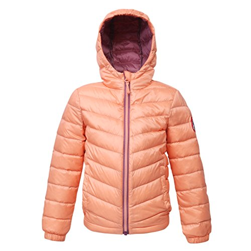 (Rokka&Rolla Girls' Ultra Lightweight Hooded Packable Puffer Down Jacket (S (6/7), Papaya Punch))
